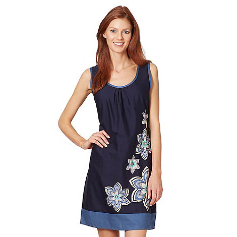 The Collection - Navy woven placement floral shift dress