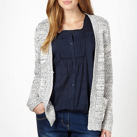 The Collection - White textured knitted edge to edge cardigan