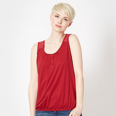 The Collection - Dark red lace back bubble hem vest