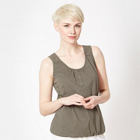 The Collection - Khaki lace back bubble hem vest