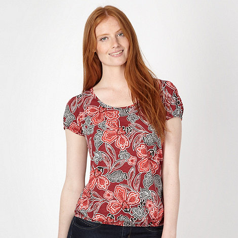 The Collection - Dark red African floral bubble t-shirt