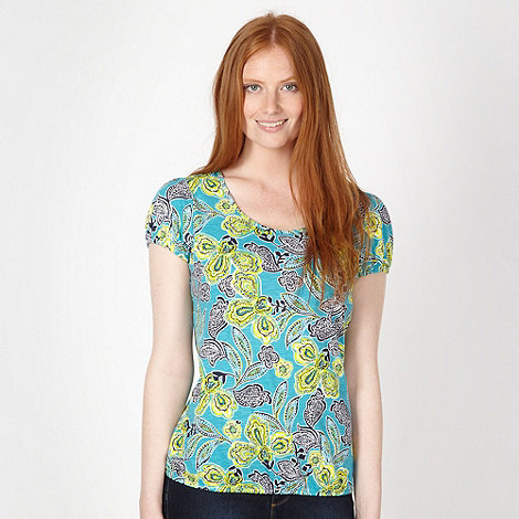 The Collection - Turquoise African floral bubble t-shirt