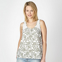 The Collection - Khaki Floral crochet top