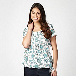 The Collection - Turquoise floral embroidered blouse