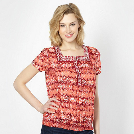 The Collection - Dark red mixed leaf square neck top
