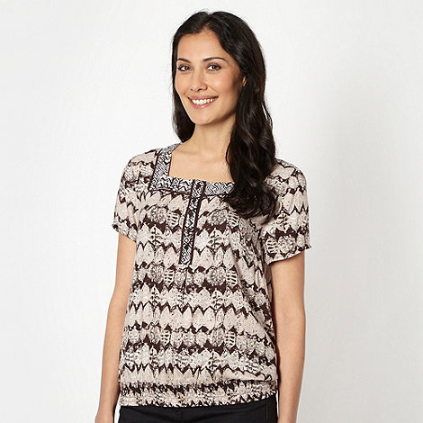 The Collection - Chocolate leaf print square neck top