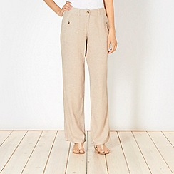 The Collection - Beige crosshatch linen blend trousers