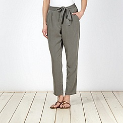The Collection - Khaki soft belted trousers