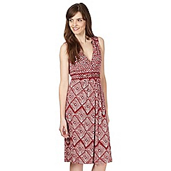 The Collection - Dark red linen blend diamond print dress
