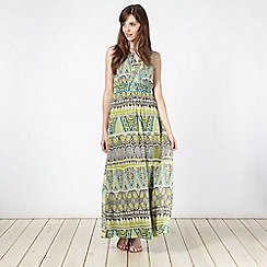 The Collection - Lime printed embellished chiffon maxi dress