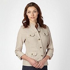 The Collection - Beige crosshatch linen blend jacket