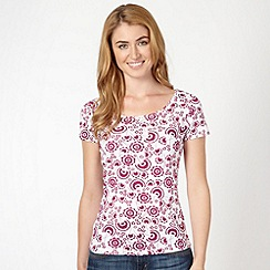 The Collection - Dark pink dandelion print t-shirt