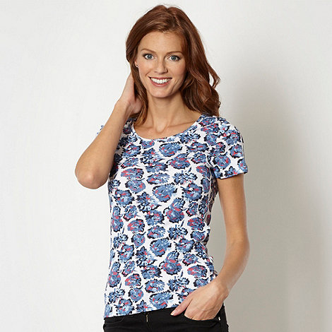 The Collection - Blue floral print scoop neck top