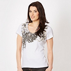The Collection - Khaki floral studded t-shirt