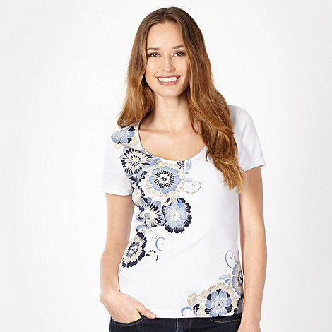 The Collection - Blue studded Japanese floral t-shirt
