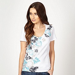 The Collection - Turquoise butterfly beaded t-shirt
