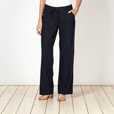 The Collection - Navy linen blend loose fit trousers