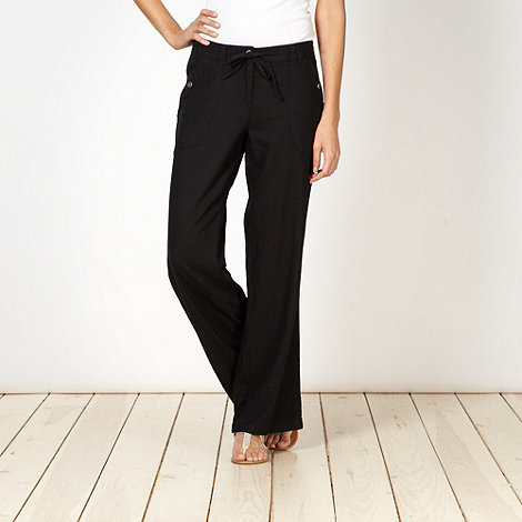 The Collection - Black linen blend loose fit trousers