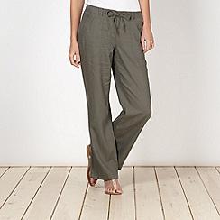 The Collection - Khaki linen blend trousers