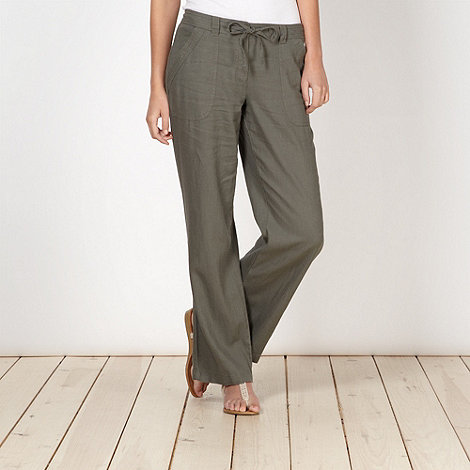 The Collection - Khaki linen blend trousers