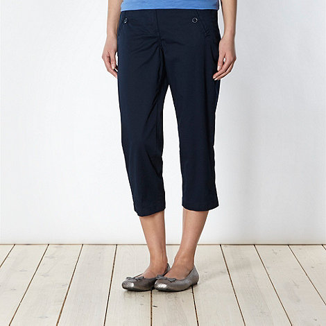 The Collection - Navy button pocket cropped chinos