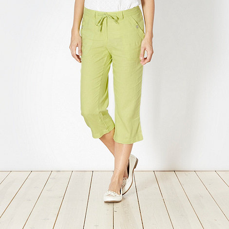 The Collection - Lime linen blend cropped trousers
