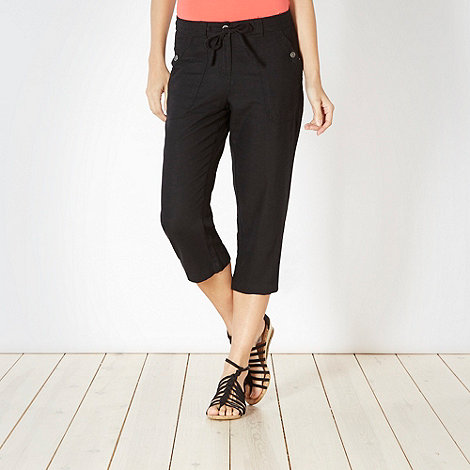 The Collection - Black linen blend cropped trousers