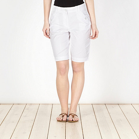 The Collection - White button pocket chino shorts