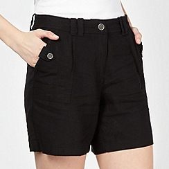 The Collection - Black linen blend shorts
