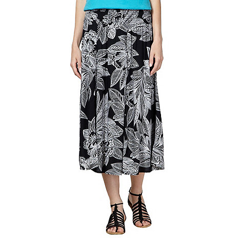 The Collection - Black sketch leaf print midi skirt