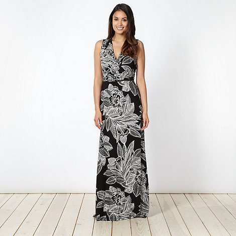 The Collection - Black floral outline tie back maxi dress