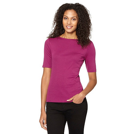 The Collection - Dark pink plain half sleeve top