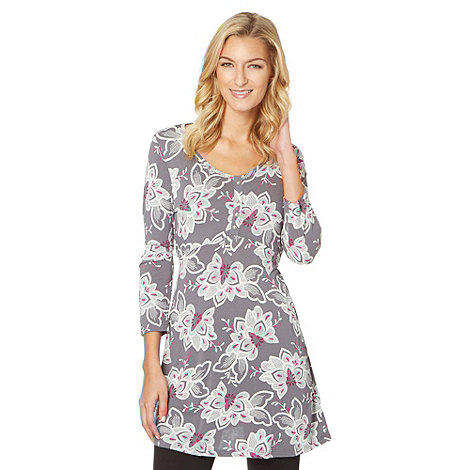 The Collection - Grey sketched floral jersey tunic