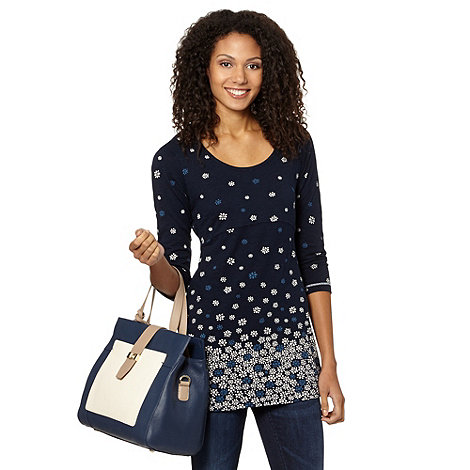 The Collection - Navy floral printed tie back tunic