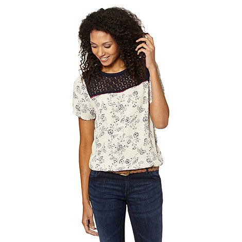 The Collection - Off white lace insert floral bubble hem top