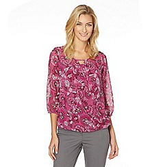 The Collection - Dark pink floral wrap front chiffon top