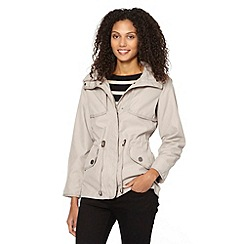 The Collection - Taupe hooded short parka jacket