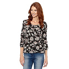 The Collection - Black winter rose printed bubble hem top