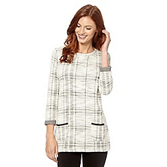 The Collection - Light grey checked knitted tunic