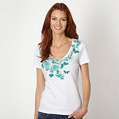 The Collection - Turquoise green butterfly printed t-shirt