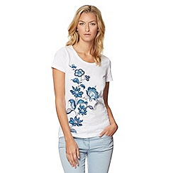 The Collection - White placement flower print t-shirt