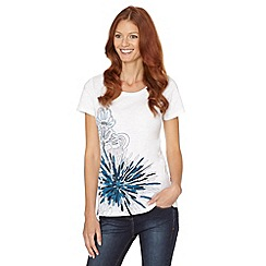 The Collection - Bright blue embroidered placement flower t-shirt