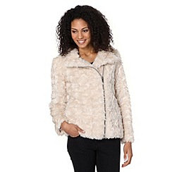 The Collection - Taupe asymmetric faux fur jacket