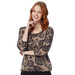 The Collection - Taupe elasticated floral top