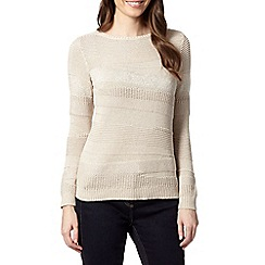 The Collection - Taupe textured stripe jumper