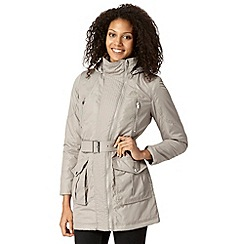 The Collection - Beige quilted belted parka coat