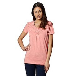 The Collection - Light peach broderie neck top