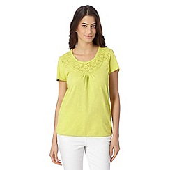 The Collection - Lime broderie neck top