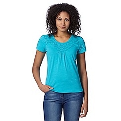 The Collection - Turquoise broderie yoke bubble hem t-shirt