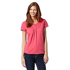 The Collection - Bright pink broderie panel t-shirt